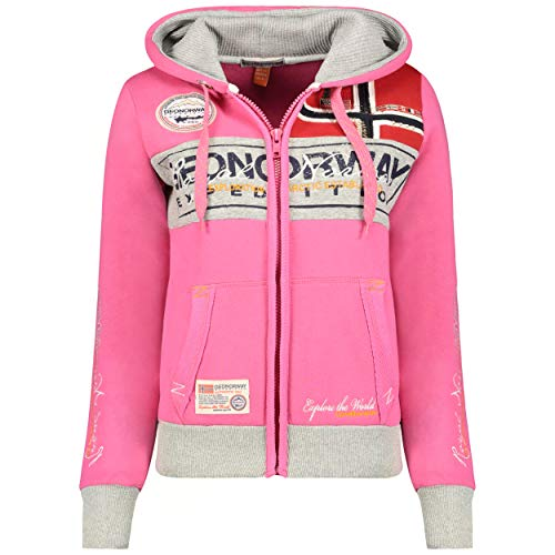 GEO NORWAY Flyer Lady - Sudadera Mujer Bolsillos Caliente Mujer - Suéter Abrigos Manga Larga - Hoodie Tops Casual Abrigo Estilo Flash Rosa L