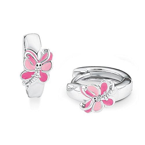 Prinzessin Lillifee Kinder-Creolen Mädchen Schmetterling 925 Silber Emaille pink