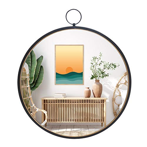 RiteSune Black Mirrors for Wall Decor, Brushed Metal Frame Round Wall Mirror -