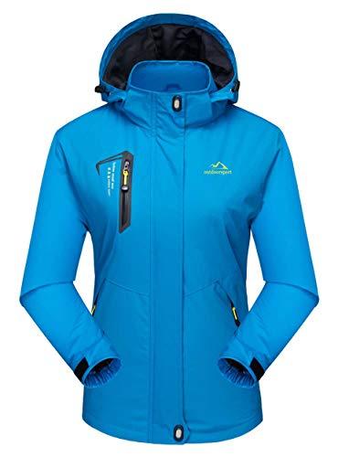 MAGCOMSEN Damen Leicht Softshelljacke Wasserdicht Kapuzenjacke Outdoor Übergangsjacke für Damen Camping Jacken Wanderjacke Casual Jacke Seeblau M