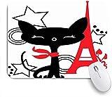 NANITHG Tapis de Souris Gaming,Coloré France Noir Rouge Parcs Chaton en Plein Air Awaresome Isoler Sourire Star Circle Style Paris,Mouse Pad Surface spéciale améliore la Vitesse et la précision Base
