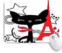 PATINISAマウスパッド カラフルなフランス黒赤公園子猫屋外気の利いた分離笑顔スターサークルスタイルパリ ゲーミング オフィ良い 滑り止めゴム底 ゲーミングなど適用 マウス 用ノートブックコンピュータ