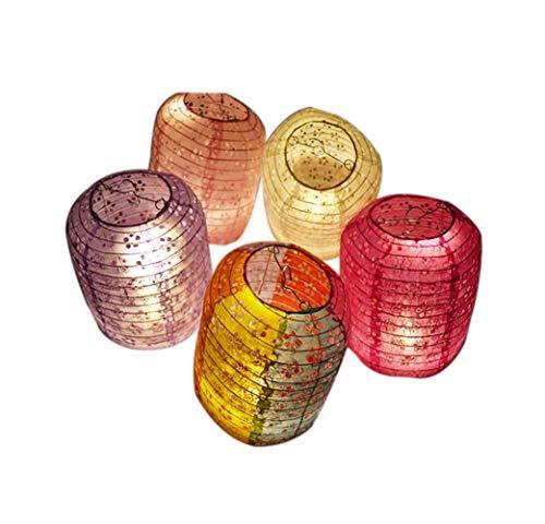 [Zufällige Farbe] Set von 5 Chinesische/japanische Art hängende Laterne dekorative Hohle Papierlaterne 8