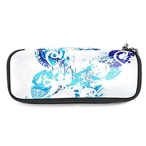 WARMFM Papillon bleu Trousse à crayons Sac à crayons Sac à pinceaux de maquillage pour femmes filles