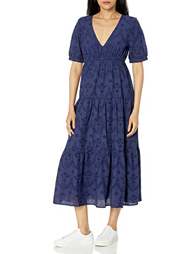 The Drop Women's Imogen Short Sleeve Tiered V-Neck Eyelet Cotton Midi Dress