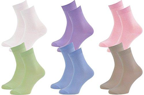 Rainbow Socks - Damen Herren Klassische Bunte Bambus Socken - 6 Paar - Violett Rosa - Größen 36-38