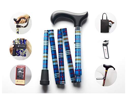 Merry Sticks, bastón Plegable Ajustable de diseño, Tartán Azul, Incluye una práctica Bolsa para su bastón y un Soporte para Bastones Reflectante Inteligente ⭐