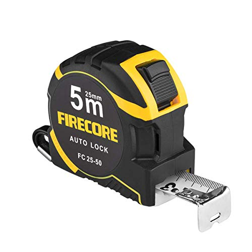 Firecoreメジャー巻尺巻き尺5mメジャースケールナイロンコーティング距離測定器測定器目盛り見やすいdiy作業工具大工道具FC25-50