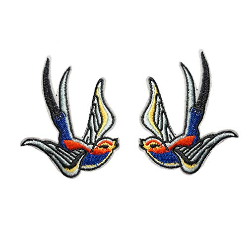 One Pair Swallow Red Blue Embroidered Iron On Sew On Patch Heavy Metal Rock Punk Tattoo Emblem