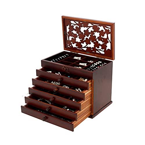 Joyería Caja de Almacenamiento Caja de almacenamiento de joyas de 6 capas caja de almacenamiento retro de madera multifunción con cerradura grande Caja de joyería de gran capacidad caja de almacenamie