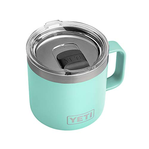 YETI Rambler 14 oz Mug, Vacuum Insulated, Stainless Steel with MagSlider Lid, Seafoam