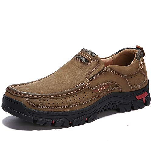 COSIDRAM Men Casual Shoes Sneakers Loafers Comfort Walking Shoes Fashion Driving Shoes Luxury Leather Shoes for Male Slip on Office Outdoor Khaki 11