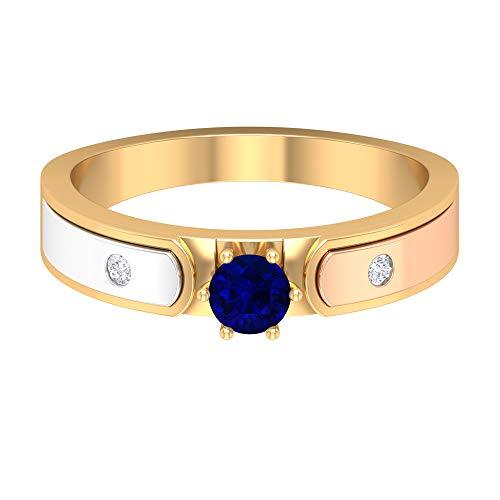 Anillo de zafiro azul solitario de 4,00 mm, anillo de diamante HI-SI, anillo de boda de 3 tonos, anillo de oro (calidad AAA), oro de 14 quilates, Metal, Diamond Blue Sapphire,
