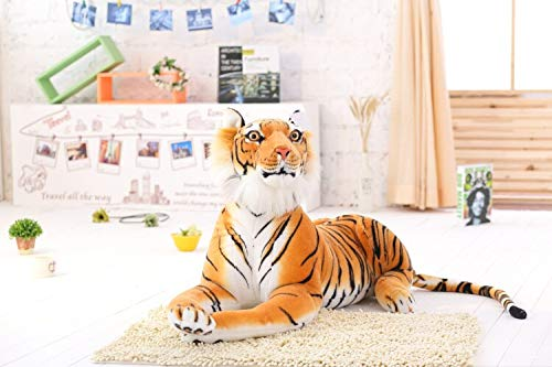 30-120 CM Pantera de Leopardo Negro Gigante Tigre Blanco Amarillo Juguetes de Peluche Animal de Peluche muñeca de Almohada de Moda para niños 60cm Yellowtiger