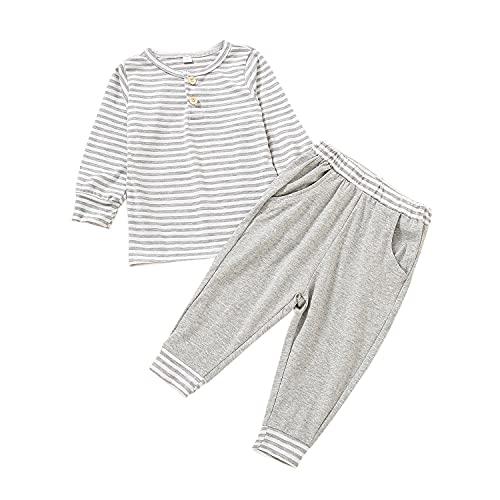 Alunsito Neonati Bambine Ragazzi 2 pezzi Set T-shirt a maniche lunghe a righe Top + Pantaloni Abiti primaverili autunnali Completi Grigio 130 3-4 anni