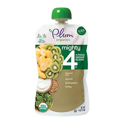Plum Organics Mighty 4, Organic Toddler Food, Banana, Kiwi, Spinach, Greek Yogurt & Barley, 4 oz Pouch
