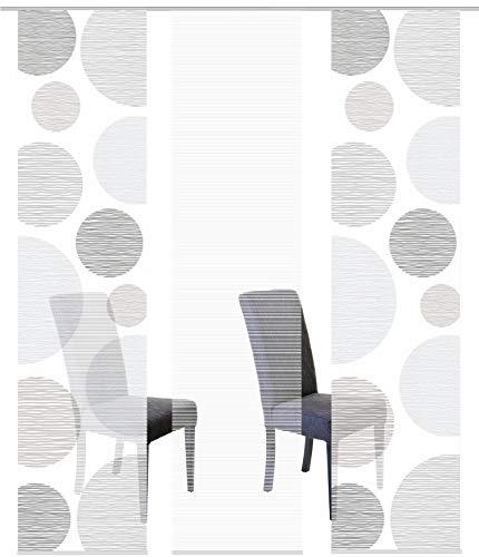 Vision S 88553 | 3er-Set Schiebegardinen Borden | halb-transparenter Stoff in Bambus-Optik | 3X 260x60 cm | Farbe: (grau)