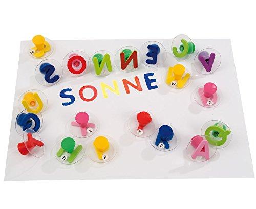 Betzold 26 Buchstabenstempel, Transparente Stempelfläche, großer Stempelgriff, Aufbewahrungsbox - Buchstaben Lesen Lernen Kinder Schule Schüler Stempelset Kinderstempel