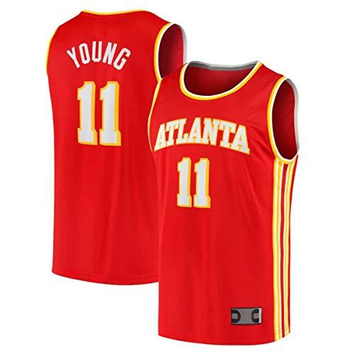 FTING Jersey de baloncesto al aire libre ropa Trae Atlanta NO.11 Young Hawks 2020/21 Fast Break jugador Jersey - edición icono - rojo