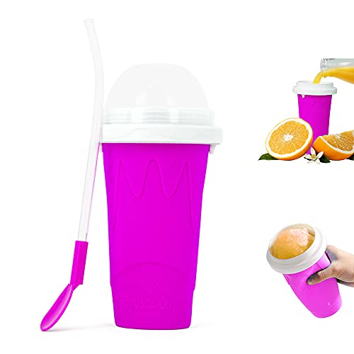 Slushie Maker Cup, Magic Quick Frozen Smoothies Cup Cooling Cup Double Layer Squeeze Cup Slushy Maker, Homemade Ice Cream Maker DIY it for Children and Family (PURPLE)