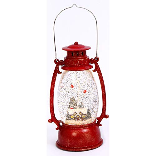 Gerson Log Cabin Lighted Red Vintage Water Lantern 9.5 Inch with Cardinals in Swirling Glitter