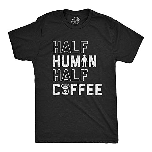 Mens Half Human Half Coffee Tshirt Funny Caffeine Addict Morning Person Graphic Tee (Heather Black) - 3XL