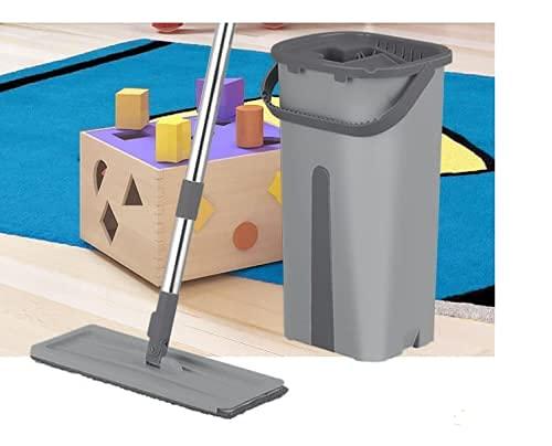 Rodo Flat Mop Com Balde Lava e Seca Limpeza Multiuso (Cinza)