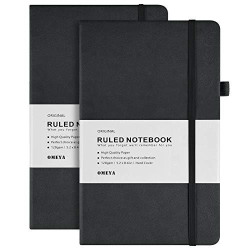 2er-pack Tagebücher, PU-Leder Hardcover Liniert Notizbücher mit 120 g/m² dickem Papier, Tasche, Tag Divider Notes, 128 Seiten, 13,3 x 21,3 cm-Black