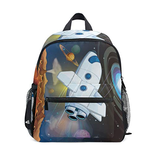 School Bag Space Stars Planets With Airplane Preschool Backpacks Children Travel Daypack for Boys Girls