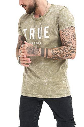 trueprodigy Casual Herren Marken T-Shirt Einfarbig Aufdruck Oberteil Cool Und Stylisch Mit Rundhals Ausschnitt Kurzarm Slim Fit Shirt Für Männer, Größe:M, Farben:Khaki