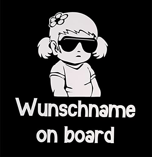 MP Produkt Baby on Board Mädchen Personalisiert Aufkleber 20x14cm - Auto Aufkleber - Sticker Wasserfest und Langlebig - Baby on Board Girl mit Wunschnamen Aufkleber Auto (Weiß Girl)