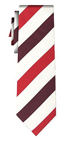 Cravate soie stripe III ecru red
