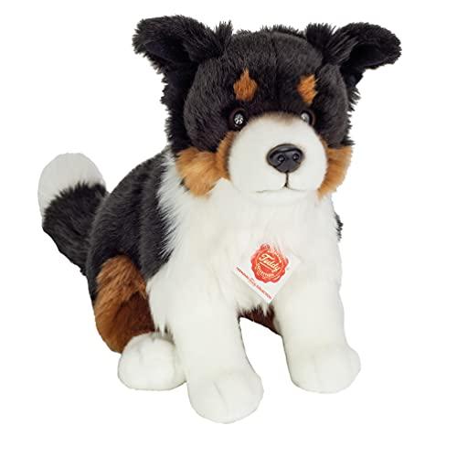 Teddy Hermann 91956 Hund Border Collie Tri-Color sitzend 30 cm, Kuscheltier, Plüschtier