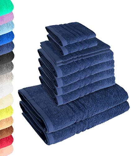 Juego de 10 toallas Elena azul marino, 4 toallas de mano, 2 toallas de ducha, 2 toallas de invitados, 2 manoplas de baño, 100% algodón