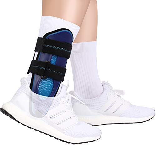 VELPEAU Ankle Support Brace for Men & Women, Ankle Stabilizer, Stirrup Splint for Sprains, Tendonitis, Volleyball, Basketball, Sprained Ankle, Reversible Left & Right Foots, One Size Fits Most (Blue)