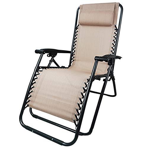 PETHOMEL Zero Gravity Chair, Oversize XL Imbottita Zero Gravity Lounge Chair Bracciolo più ampio Regolabile reclinabile Pieghevole Relax Lettino in legno tessuto rattan luce soggiorno Giardino E