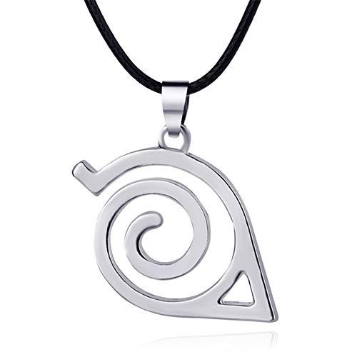 HMOOY Naruto Shippuden Dibujos Animados Rojo Nube Collar Hoja Símbolo Emblema Colgante Hoja Pueblo Símbolo Logo Cosplay Collar Animación para Hombres Mujeres (Silver)