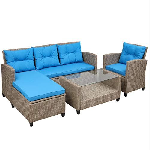 Outdoor Rattan Patio Furniture Combination Sofa with Cushions and Glass Table Blue