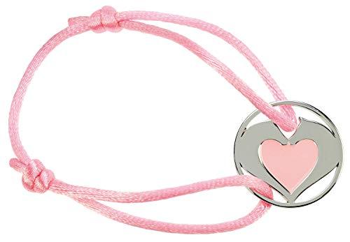 happyROSS Satin-Armband Herzpferde, rosa | süßes Armband mit Pferd und Herz | Kinder, Mädchen, Pferdefreunde, Pferdeliebhaber