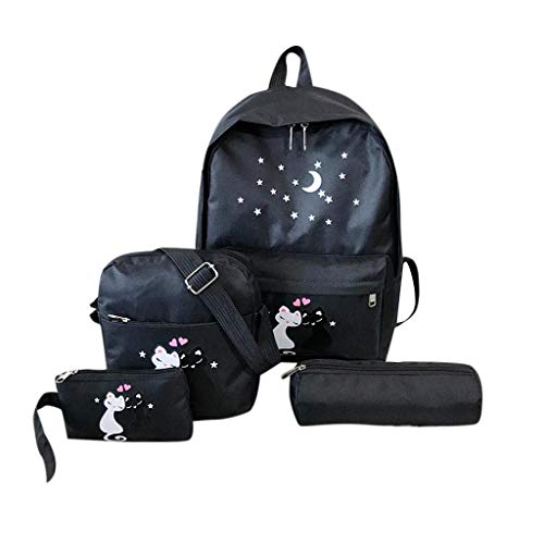 Girls School Backpack Bags Teens Bookbag Cute Cat Printed 4PC Casual Schoolbag (Black)