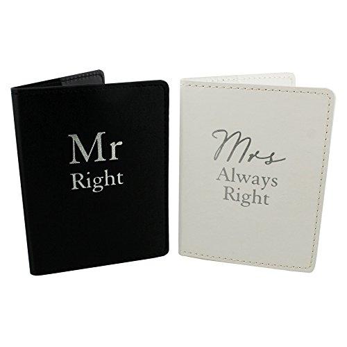 Amore Set von 2 MR RIGHT & Mrs Always Right schwarz und weiß Passport Halter Honeymoon