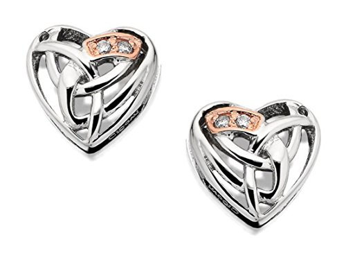 Clogau Womens Jewellery 9Ct Rare Welsh Rose Gold & Silver Diamond Heart Earrings
