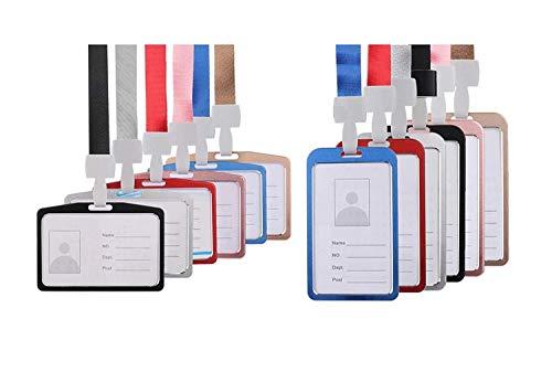 Waizmann.IDeaS Premium Ausweisset Ausweis Set - Lanyard 15mm Schlüsselband Umhängeband + Hochwertige Ausweishülle VERTIKAL oder HORIZONTAL ALUMINIUM Kartenhülle Kartenhalter Schutzhülle