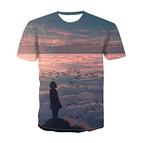 LYZ Unisex Couple Funny Tops 3D Print Graphic T-Shirt Teens Short Sleeve Summer Shirt Tops Mens Tee Shirts Outfits For Men Women Youth,C-S