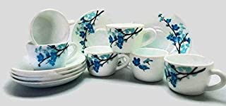Larah By Borosil Mimosa Glass Cup and Saucer Set, 12-Pieces, Multicolour