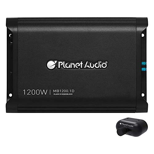 Planet Audio MB1200.1D Class D Car Amplifier - 1200 Watts, 1 Ohm Stable, Digital, Monoblock, Mosfet Power Supply, Great for Subwoofers