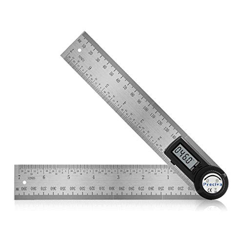 Digital Angle Finder Protractor, Preciva 14 inch/400mm Stainless Steel Digital Angle Ruler with Large LCD Display for Woodworking, Construction (CR2032 Battery Included)
