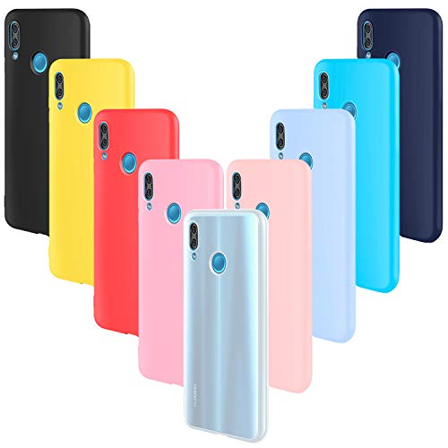 AROYI 9X Funda Huawei P20 Lite Carcasa, Flexible Anti Arañazos Protective Silicona Suave TPU Bumper Case para Huawei P20 Lite Cover Negro,Rojo,Azul Oscuro,Rosa,Traslucido