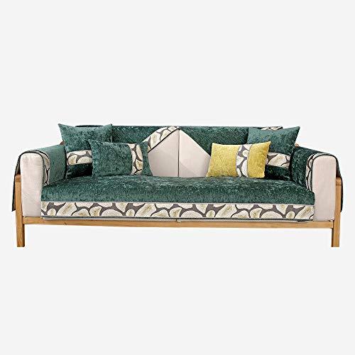 kinfuki Funda Sofá elasticas Suaves cojín protección Mascotas,Cojín de sofá de Madera Maciza Antideslizante (2 Fundas de Almohada Gratis) -Verde Oscuro, 90 * 180