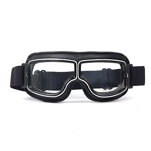 LEAGUE&CO Gafas de Moto Retro Vintage Gafas de Protección Gafas Piloto Gafas de Aviador, Gafas para Casco Harley Davidson Dyna Touring Trike Motocross Marco Negro, Lente Transparente